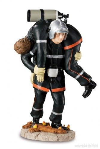 Alxshop - Figurine de dŽcoration en rŽsine : pompier sauvant son camarade