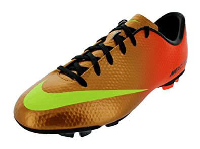 Girls Nike Junior Mercurial Victory IV Soccer Cleat Sunset/Crimson/Volt Size 3.5