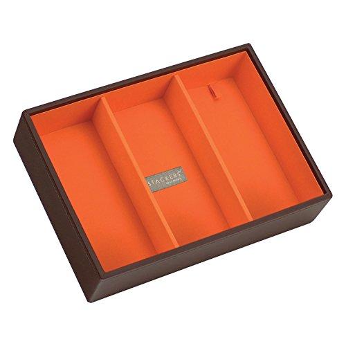 Stackers Jewellery Box | Classic Chocolate Brown & Bright Orange Deep 3 Stacker
