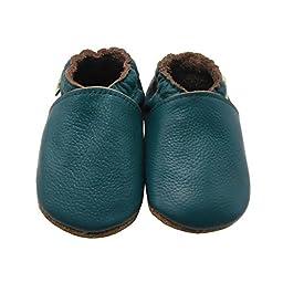 Sayoyo Lowest Best Baby Soft Sole Prewalkers Skid-resistant Baby Toddler Shoes Cowhide Shoes (12-18 months, Darkcyan)