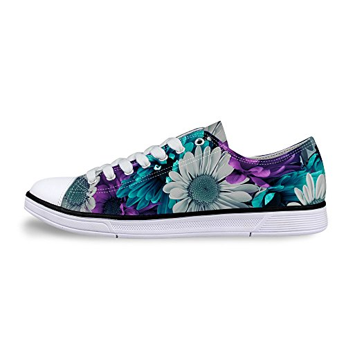 FOR U DESIGNS Cool Retro Floral Style Women's Low Top Shoes Canvas Sneaker US 10