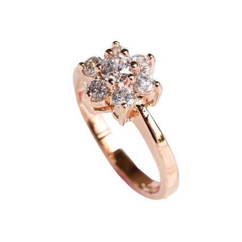 Fashion Plaza Flower CZ Use Swarovski Crystal Gold Plated Wedding Women Engagement Ring Size 7