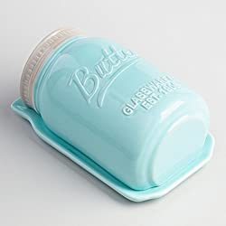 Blue Mason Jar Ceramic Butter Dish