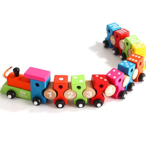 Funny Wooden Number Threading Blocks Train Toys Puzzle Educational Assembled Car Birthday Christmas Gift (Monopoly British compare prices)