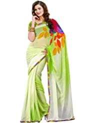 Exotic India Green-Shaded Polka Dotted Sari With Multi Color Print And P - Green
