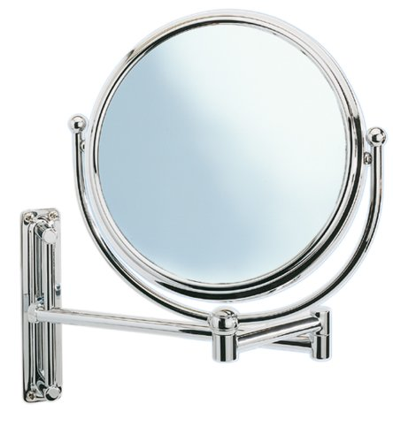 Deluxe Swivelling Arm Cosmetic Wall Mirror, 5-x magnification, Diam 20 cm, Chrome