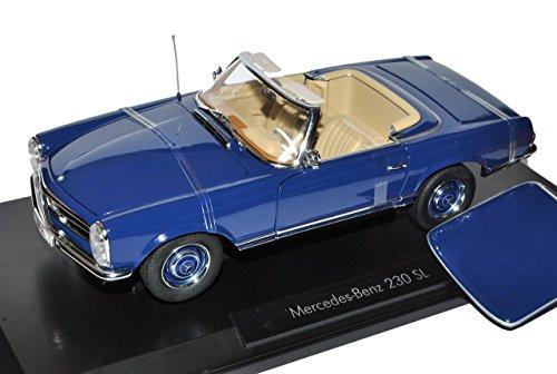 Noreve Mercedes-Benz 230SL Pagode Roadster Blau W113 1963-1971 1/18 Norev Modell Auto mit individiuellem Wunschkennzeichen