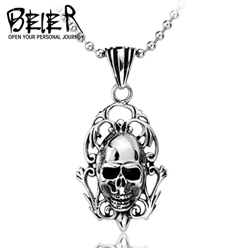Skull Charm Necklace Men Motorcycle Pendant Stainless Steel