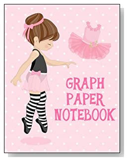 Graph Paper Notebook For Girls - A cute little brunette ballerina against a mostly pink background graces the cover of this graph paper notebook for younger girls.
