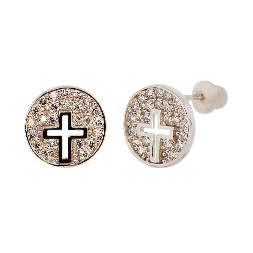Sterling Silver, Disk with Cut Out Cross Stud Earring Screw Back White Stones