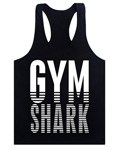 MITIAO Men GYM Shark Loose Workout BodyBuilding Stringer Tank Top Black White M (Gym Shark Tank Top compare prices)