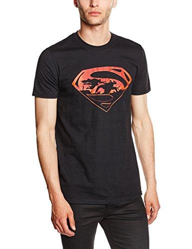 CID Batman V Superman-Superman Silhouette, T-Shirt Uomo, Schwarz-Schwarz, S
