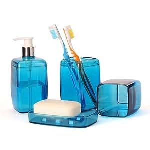 Blue bathroom accessory set soap dispenser for Blue bath accessories set