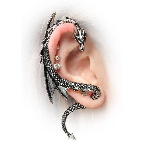Kitty-Party The Dragon's Lure Stud Gothic Earring-Antique Silver Style
