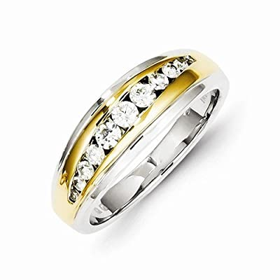 Solid 14k Two tone Gold Diamond Mens Wedding Ring Band (1/2 cttw) (8mm)