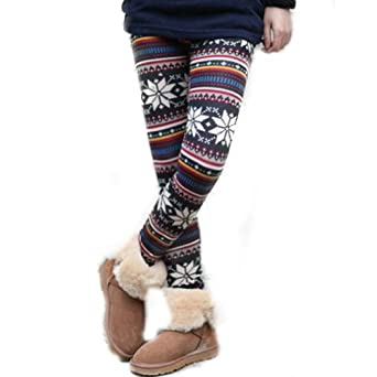 Women's Knitted Legging Tights Pants Multi-patterns Warm Soft Retro New One Size (Multi-color snowflake)