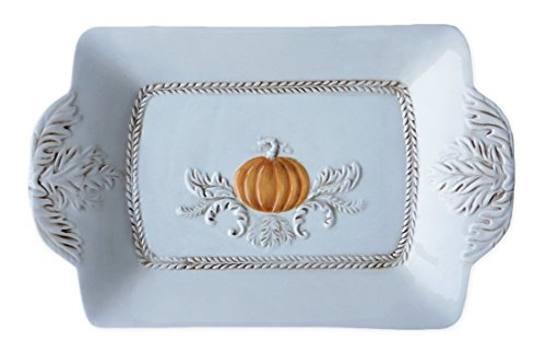 Ivory Ceramic Pumpkin Image Serving Platter Dish