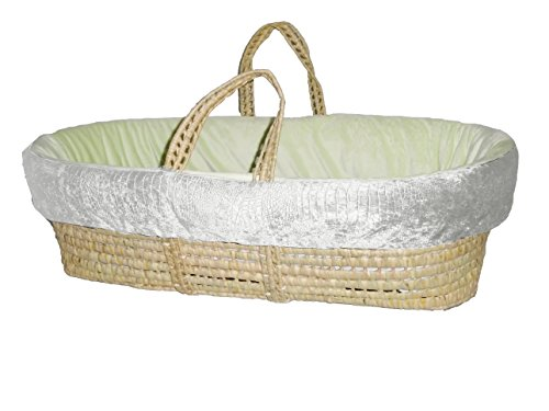 Baby Doll Croco Minky Moses Basket, Ivory/Sage - 1