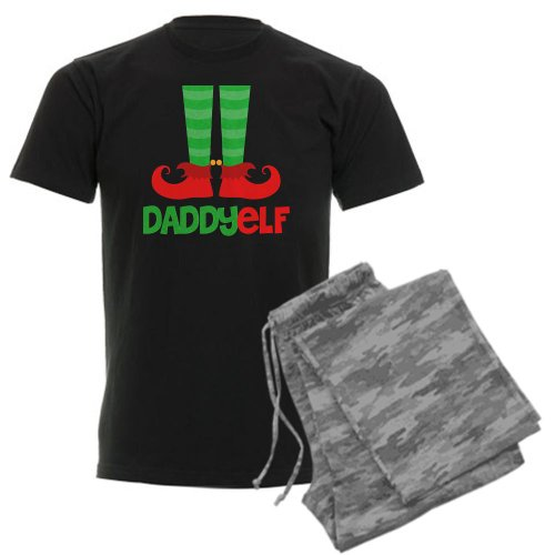 CafePress Daddy Elf Men's Dark Pajamas Men's Dark Pajamas - S With Grey Camo
