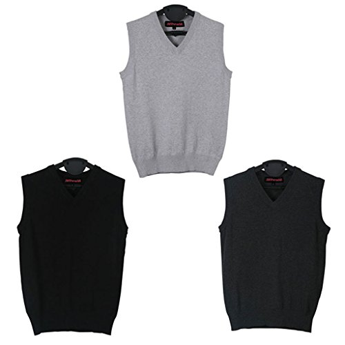 JNTworld Men's V-Neck Classic Fit Sweater Vest sleeveless solid Zip Golf