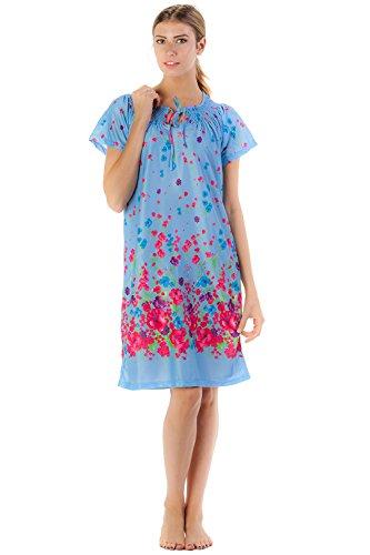 Casual Nights Women's Vintage MuMu Neck Tie Satin Nightgown - Light Blue - Medium