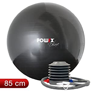 Gym Ball 85cm Deluxe, Charcoal Grey (Anti Burst) With Hand Pump, Swiss Ball, Birthing Ball, Pregnancy Training Ball, Perfect For Athletes