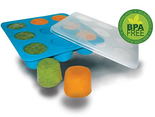 Homemade Baby Food Storage Solution, Silicone Freezer Tray with Lid. Makes 9 X 2 Oz Cubes. BPA Free, Non Toxic. Lifetime Guarantee. (Baby Food Ice Cube Trays compare prices)