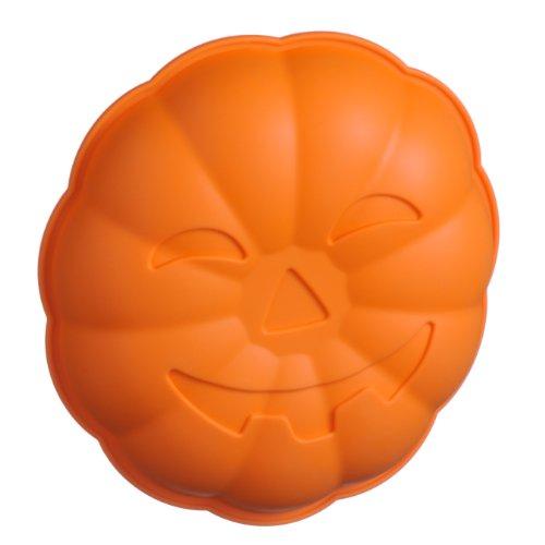 """Premier Housewares Moules à gâteaux """"Citrouille"""" Silicone Anti-adhésif Orange Diamètre : 25 cm"""