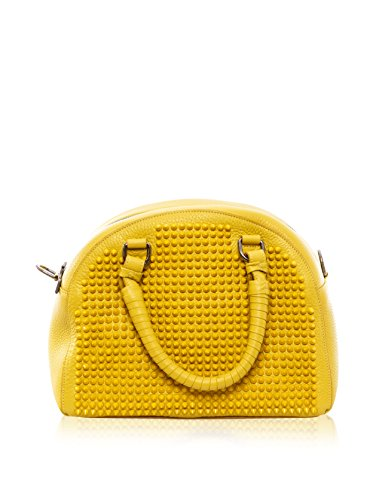 Christian Louboutin Women's Panettone Small Calf Ranch Leather Bag with Spikes, Mimosa