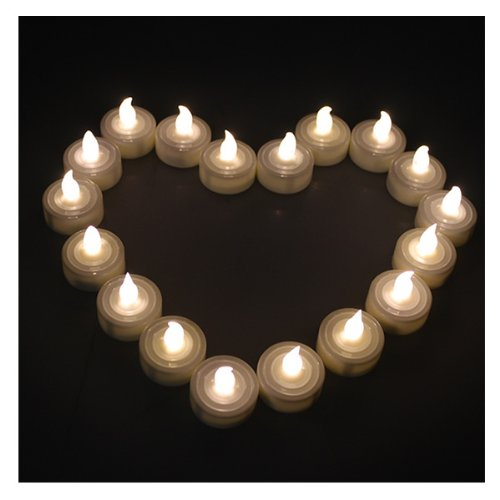 Warm White Flameless Tea Light Candles 24 Pieces