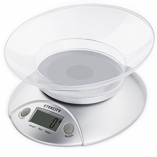 Etekcity 11lb 5kg Digital Kitchen Food Bowl Scale, Volume Measurement Supported, Silver (Electronic Weight Kitchen compare prices)
