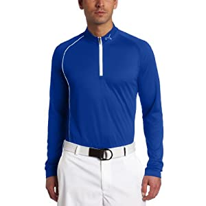 Puma Men's Golf 1/4 Zip Long Sleeve Polo, Surf The Web Blue, Medium