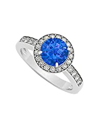 Halo Engagement Ring September Birthstone Sapphire With Cubic Zirconia 925 Sterling Silver