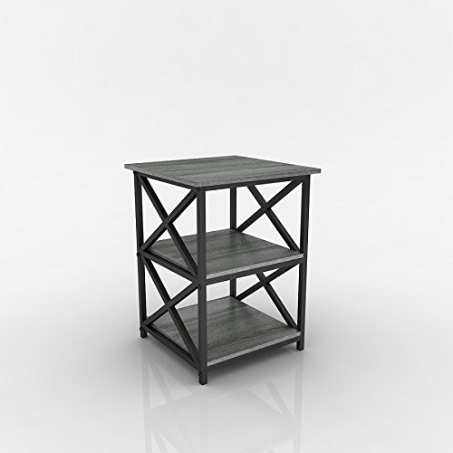 weathered grey oak finish metal x design chair side end table with 3 tier shelf. Black Bedroom Furniture Sets. Home Design Ideas