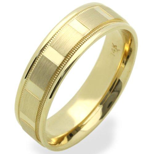 14K Yellow Gold 5MM Wedding Bands Diamond-Cut Patterned Ring , Size 5