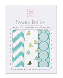 SwaddleDesigns SwaddleLite, Chic Chevron Lite (Set of 3 in Turquoise)