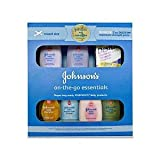 Johnson's On The Go Essentials Gift Set - Baby Products Travel Size & Airplane Carry On Ready