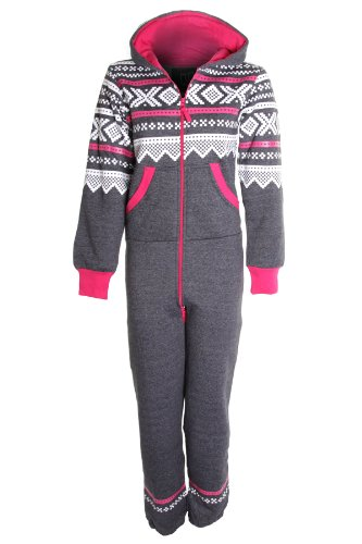 Ladies Aztec Print All In One Adult Hooded Jumpsuit Women's Playsuit Suit 8-14 - S / M (8-10) - Dark Grey Aztec