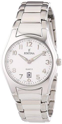Festina F16503/2 - Reloj analógico de cuarzo para mujer con correa de acero inoxidable, color plateado