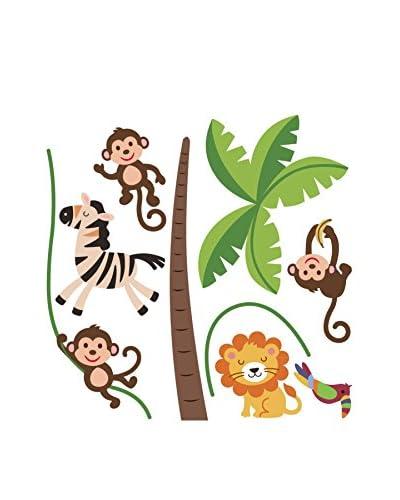 Ambiance Live Vinilo Decorativo Happy animals of the jungle (Reusable) Multicolor