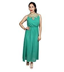 Sarv Ebiz Women's Long Maxi Dress (SEAN340_Green)