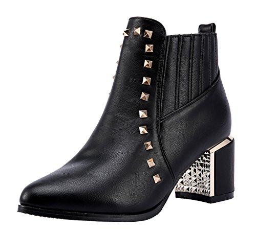 INDEX Women's Rough High-Heels Rivets Spandex Fashion Shoes