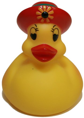 Rubber Ducks Family Lady Bonnet Rubber Duck, Waddlers Brand Toy Bathtub Rubber Duck Lady On Red Bonnett Hat That Floats Upright, All Depts. Gift Rubber Ducky Birthday, Ladies & Mother'S Day front-521981