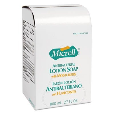 GOJO Industries Products - Lotion Soap Antibacterial 800ml 12/CT Golden - Sold as 1 CT - MICRELL is specially formulated with a quick-acting antimicrobial agent (PCMX) to kill germs a light scent and an effective degreasing agent that makes it perfect for foodservice environments. Nonirritating formula also makes MICRELL ideal for frequent use in a variety of settings including schools health clubs offices and recreation areas. Refill is designed to fit GOJO 800 ml. Bag-in-box Dispensers