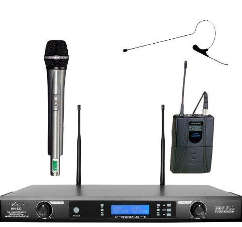 Awisco Uhf Wh822H670B Black Mini Headset & Handheld Combo Wireless Microphone
