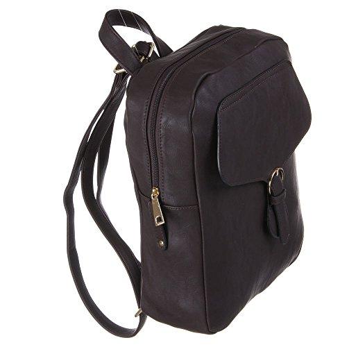 Damen Tasche, RUCKSACK, HANDTASCHE, TA-673-3, Synthetik in hochwertiger Leder Optik, Dunkelbraun
