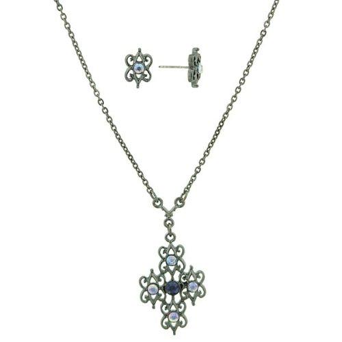 Blue Hues Filigree Cross Necklace & Earrings Set