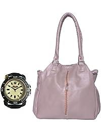 Arc HnH Women HandBag + Watch Combo - Contemporary Grey Handbag + Sports Black Watch