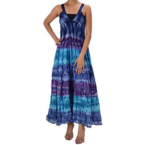 Skirts & Scarves Cotton Tie N Dye Printed sleeveless Lace Work Dress For Women (Blue)