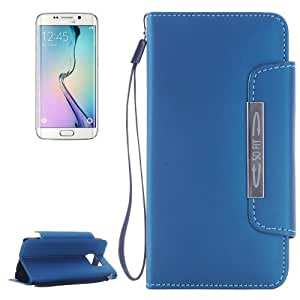 Crazy4Gadget Frosted Texture Horizontal Flip Magnetic Buckle Leather Case with Card Slots & Wallet & Holder & Lanyard for Samsung Galaxy S6 Edge(Dark Blue)